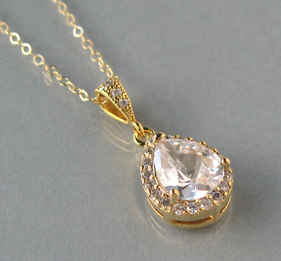Cubic zirconia gold filled chain gold plated pendant zircon cubic zirconia gold filled chain gold plated pendant zircon necklace clear zircon bridal necklace teardrop bridesmaids gift dk624 aloadofball Choice Image
