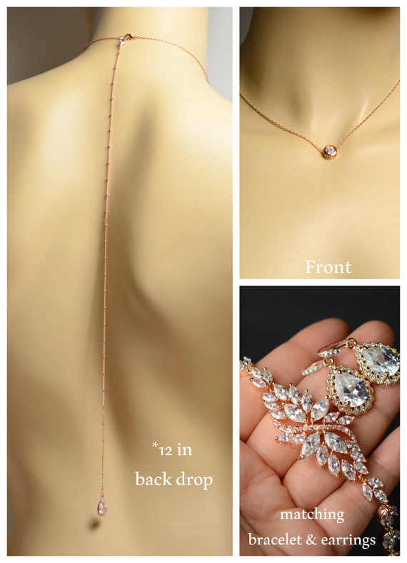 Mariage - Bridal back drop necklace,Bridal necklace Earrings SET,Wedding jewelry,rose gold necklace,rhinestone Victorian statement,drop dangle earring