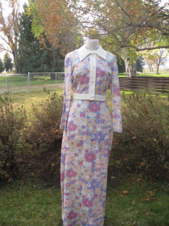 Свадьба - 1970s Women's Mod Floral Metalic 2 Piece Maxi Dress/ Crop Jacket Size 10-12/ Homecoming/Bridesmaid/Party
