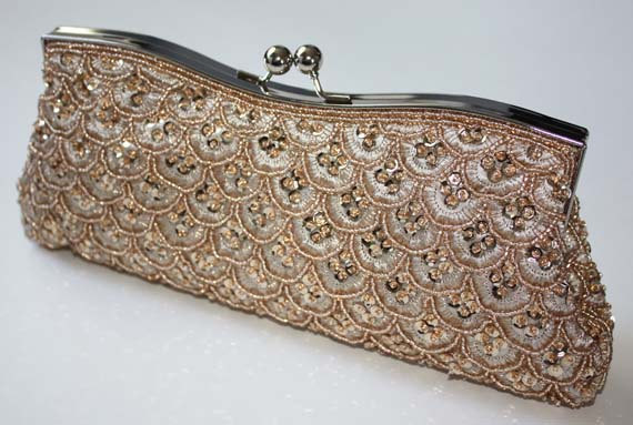 Hochzeit - Bridal Clutch - hand beaded champagne satin with beads and sequins -ready to ship