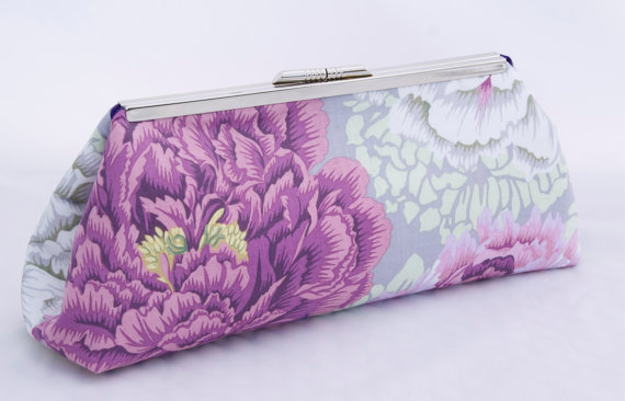 Mariage - Floral Handbag in Purple Pink and Gray Peonies- Perfect Wedding Party Gift - Design your own in various fabrics.
