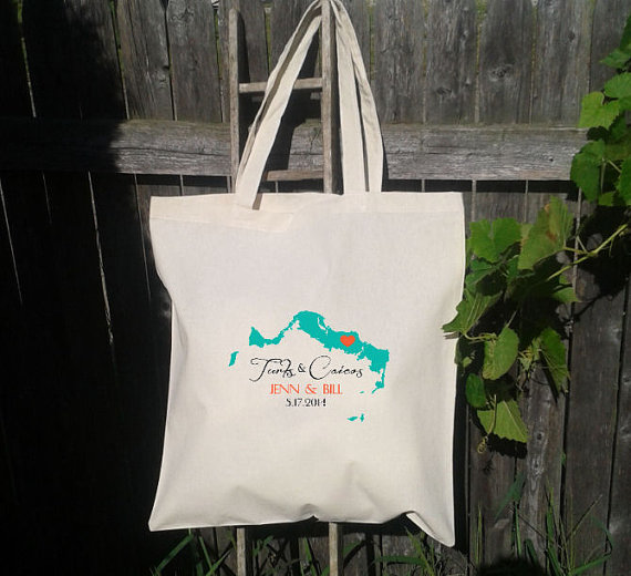 Mariage - 25 Wedding Welcome Bags-Personalized Wedding Tote- Turks and Caicos - You shoose color