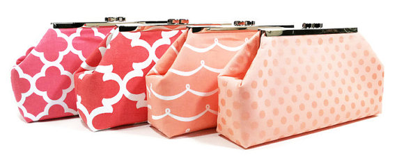 Wedding - Bridesmaid Clutches Wedding Clutches Bridal Party Clutches Choose Your Fabric Coral Salmon Peach Set of 5