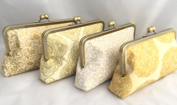 Mariage - Set of (4) Gold Handbags for Bridesmaids in Various Gold fabrics- Customize your own Wedding party gift or Bridesmaids Accessory