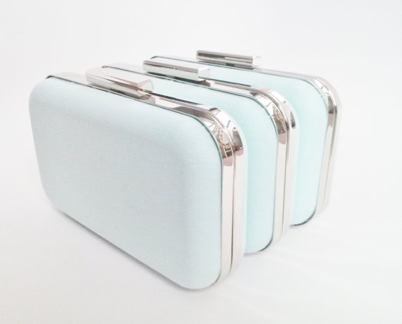 Wedding - mint blue weddings, bridesmaid gift idea, mint clutch purse set, mint blue bridesmaids gift, mint blue bridal clutches, mint set of clutches