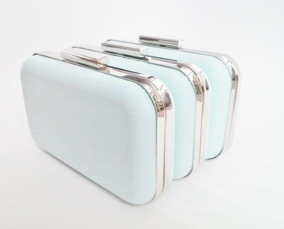 Mariage - mint blue weddings, bridesmaid gift idea, mint clutch purse set, mint blue bridesmaids gift, mint blue bridal clutches, mint set of clutches