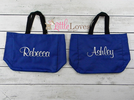 Hochzeit - 8 Personalized Bridesmaids Gift Tote Bags- Monogrammed Tote-  Bridal Party Gift