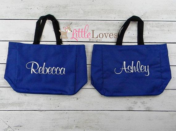 زفاف - 8 Personalized Bridesmaids Gift Tote Bags- Monogrammed Tote-  Bridal Party Gift