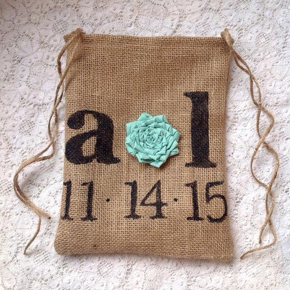 Personalized Dollar Dance Bag Money Wedding Burlap Brides Rustic Mint
