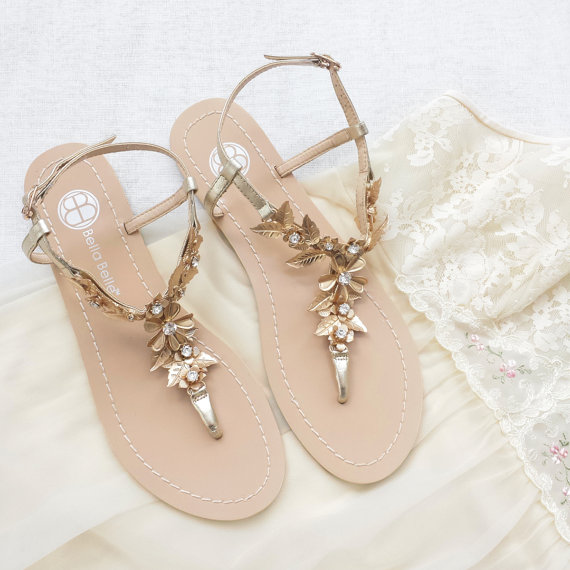 c60b5d40745 Bohemian Wedding Sandals Shoes with Gold Brass Leaves and Flowers  Destination Beach Wedding Something Blue