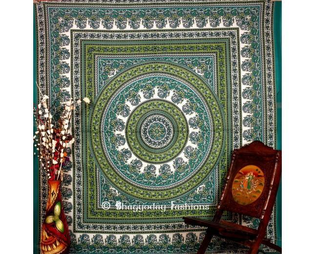 Mariage - Green Hippie Mandala Tapestry Wall Hanging