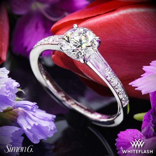 زفاف - Platinum Simon G MR2220 Duchess Diamond Engagement Ring
