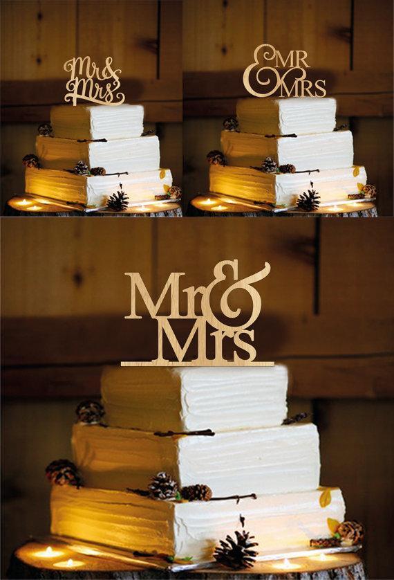 Mariage - 3 model X 3 pcs = 9 pcs. Natural Wood Mr&Mrs Cake Topper