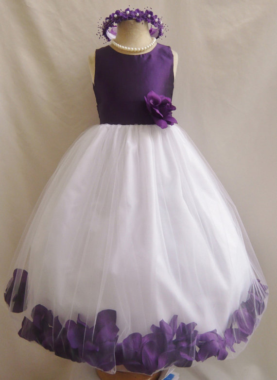 Flower girl dresses purple top rose petal dress fd0pt for Wedding dresses for young girls