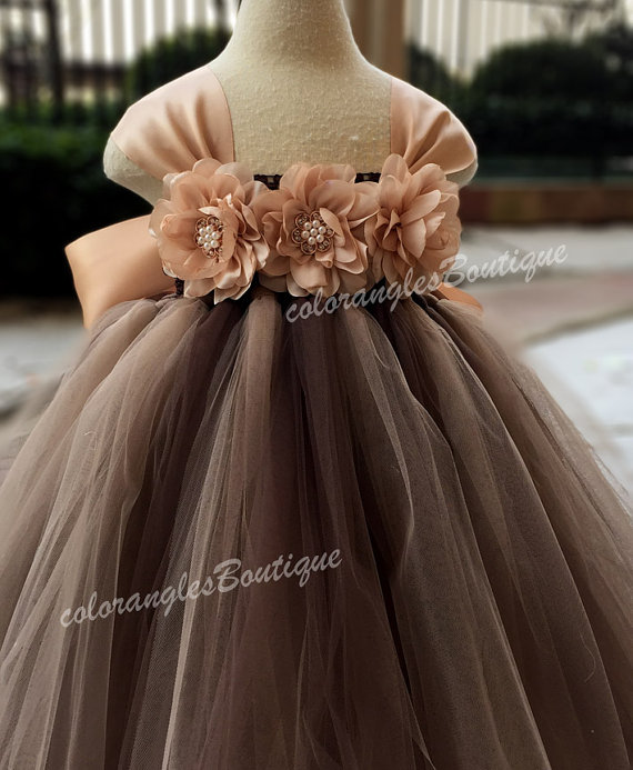199661dc5 Flower girl dress chiffton flowers Brown champagne tutu dress baby dress  toddler birthday dress wedding dress 1-8T