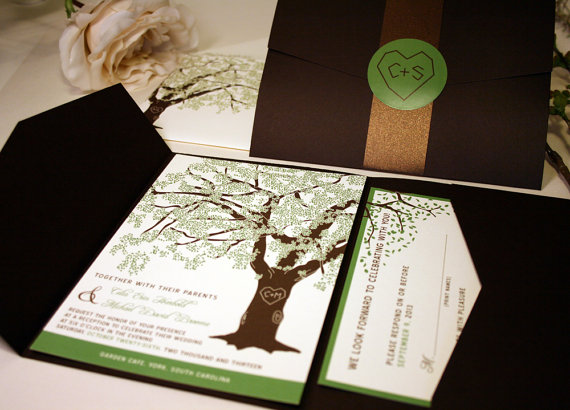 grandfather oak tree wedding invitations rustic wedding invitation set summer wedding invites cheap shower pocketfold suite spring rsvp