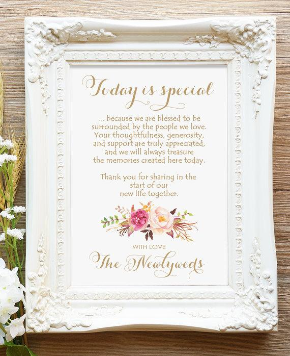 """Свадьба - Today is Special Sign - 5 x 7 sign - DIY Printable sign in """"Vintage"""" antique gold - Romantic Blooms - PDF and JPG files - Instant Download"""
