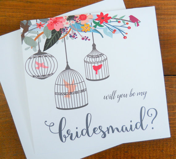 Свадьба - Will You Be My BRIDESMAID Card, Bridesmaid Proposal, Asking Bridesmaid, Bridesmaid Gift, Square Note Card, Shimmer Envelope, Floral Card