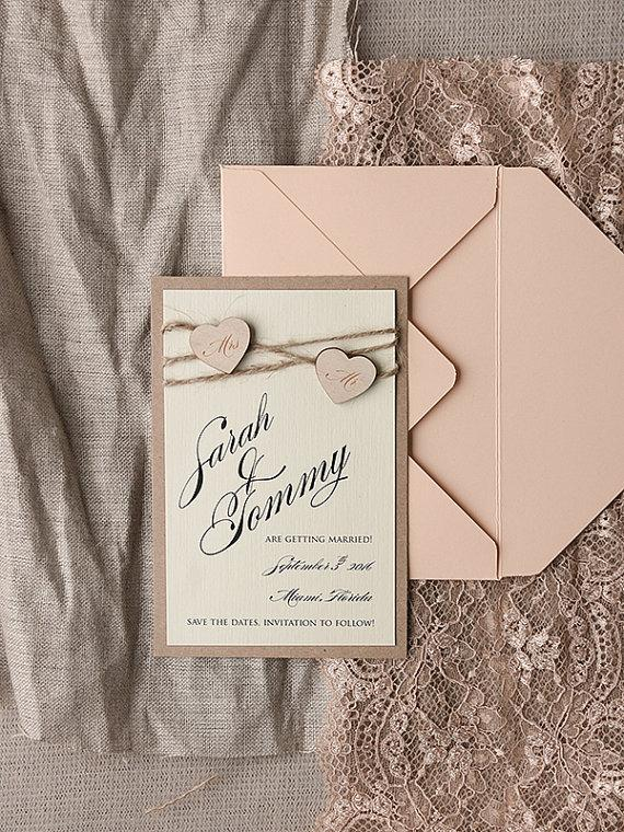 Hochzeit - Save The Date Card (20), Rustic Save the Date, Peach Save the Date, Engraved Save the Date, Wedding Save the Date, Model no: 05/rus/std