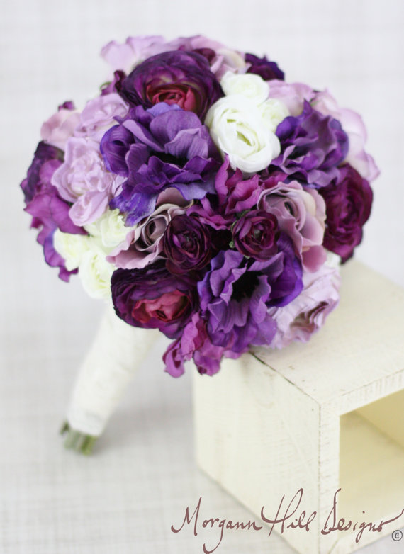 Mariage - Silk Bride Bridesmaid Bouquet Roses Ranunculus Anemone Purple Country Wedding Lace (Item Number 130119)