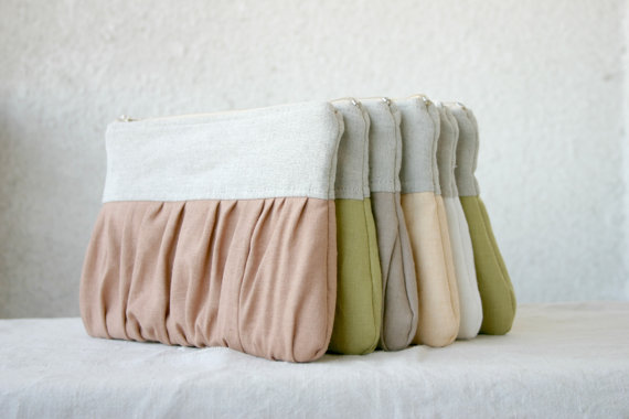 Mariage - 9 Bridal bridesmaids linen clutch pleated Ruched  linen choose your colour Bridesmaids gifts