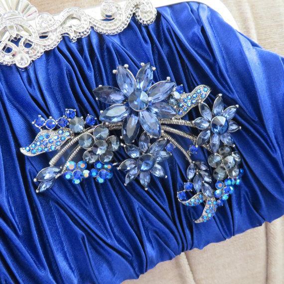 Mariage - Blue Satin Clutch with Crystal   brooch,Satin Evening Bag,Clutch, Wedding handbag ,Bridal  Swarovski Pearls ,Vintage Style Bridal