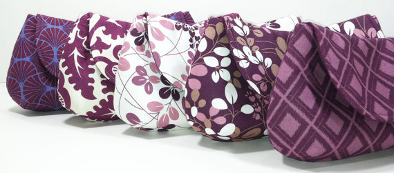 Mariage - Bridesmaid Clutches Bridal Wedding Gift Purple Orchid Lavender Plum Eggplant Choose Your Fabric Set of 5