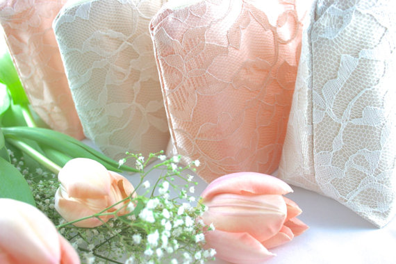 Mariage - Blush Pink Wedding Bridesmaid Gifts: Blush and Champagne Lace Cosmetic Bags, Set of 6
