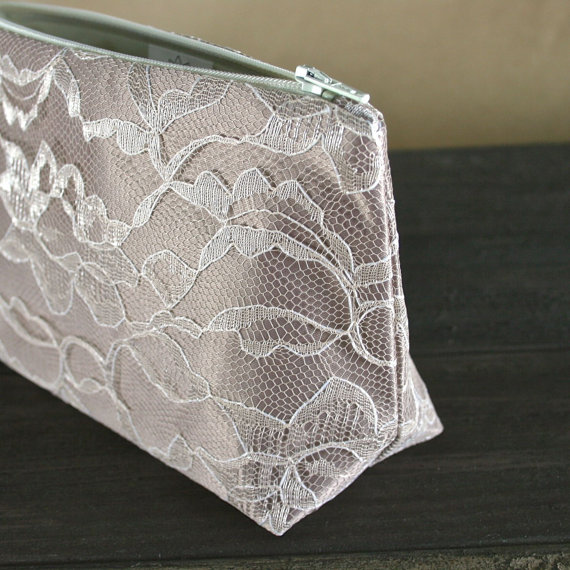 Mariage - Latte Brown & Vintage Cream Lace Bridesmaid Gift Cosmetic Bag - Bride Clutch, Bridal Party Favor, Gift for Mom
