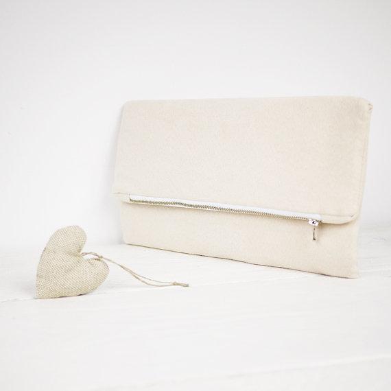 Mariage - Ivory clutch, nude clutch, nude fold over purse