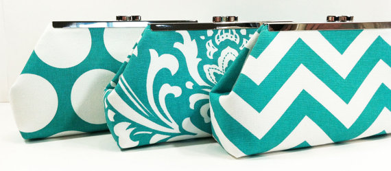 Свадьба - Bridesmaid Clutches Choose Your Fabric Turquoise, Teal, and Aqua Set of 7