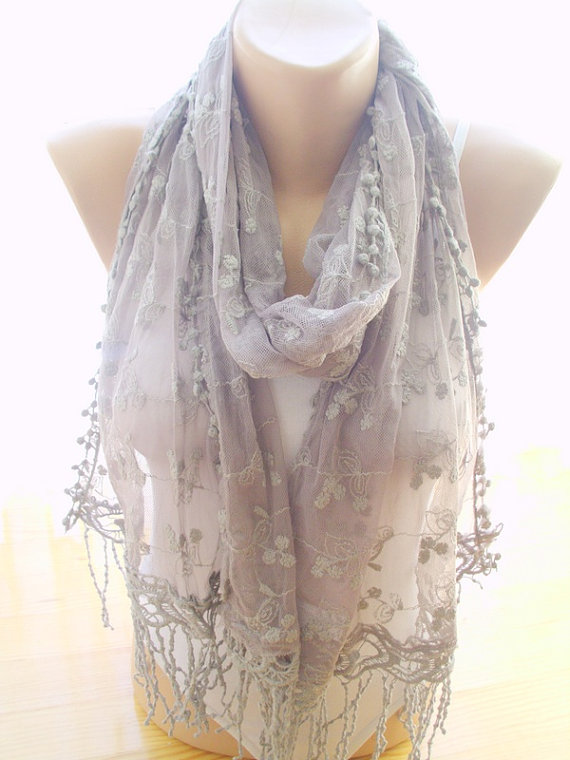 Wedding - Mink lace scarf lace edges large soft scarf Valentine's day gift for her