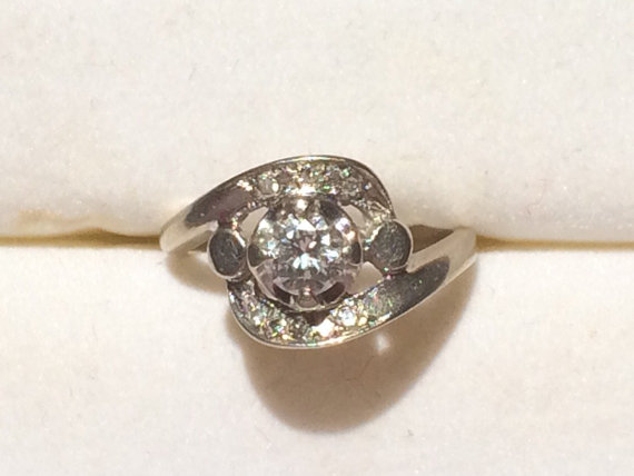 Wedding - Vintage Diamond Cluster Ring in 14K White Gold. 9 Diamonds with 0.59 TCW. Unique Engagement Ring. April Birthstone. 10 Year Anniversary.