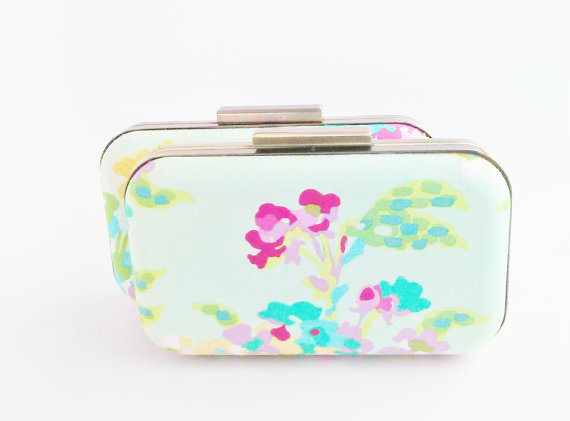 Mariage - bridesmaid clutch set of 2, mint floral clutches, mint bridesmaids clutches, bridal accessories, mint and coral weddings, water color floral