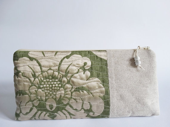 Mariage - Modern Rustic Clutch, OOAK Christmas gift for Her, Evening Cosmetic Bag