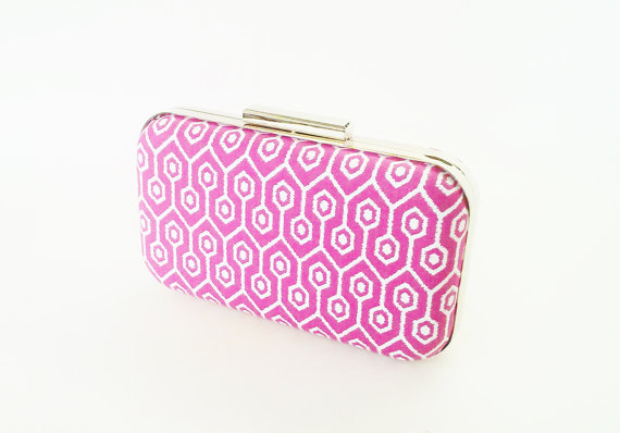 Mariage - bridesmaids gift, magenta wedding, magenta clutch, bridal accessories, hot pink bridesmaids, boho wedding, boho print, ikat clutch, ikat