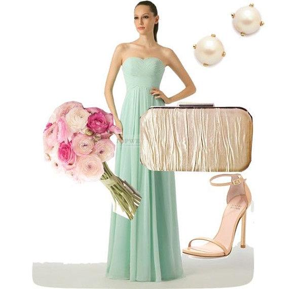 Hochzeit - champagne clutch, light gold clutch, gold bridal accessories, gold clutch, wedding party, bridesmaid gift, mint gold, wedding gifts