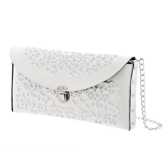 Mariage - Vegan bridal bag / white clutch purse / clean white vinyl / beautiful floral print / tuck-in chain strap / an urban wedding / I do!