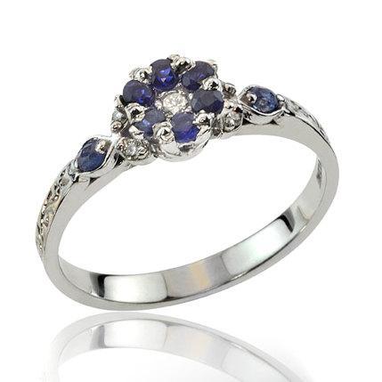 Свадьба - Sapphire Ring, Sapphire Engagement Ring, Elegant Floral Sapphire Diamond Engagement Ring, Sapphire Jewelry, 18K Gold, Wedding Ring