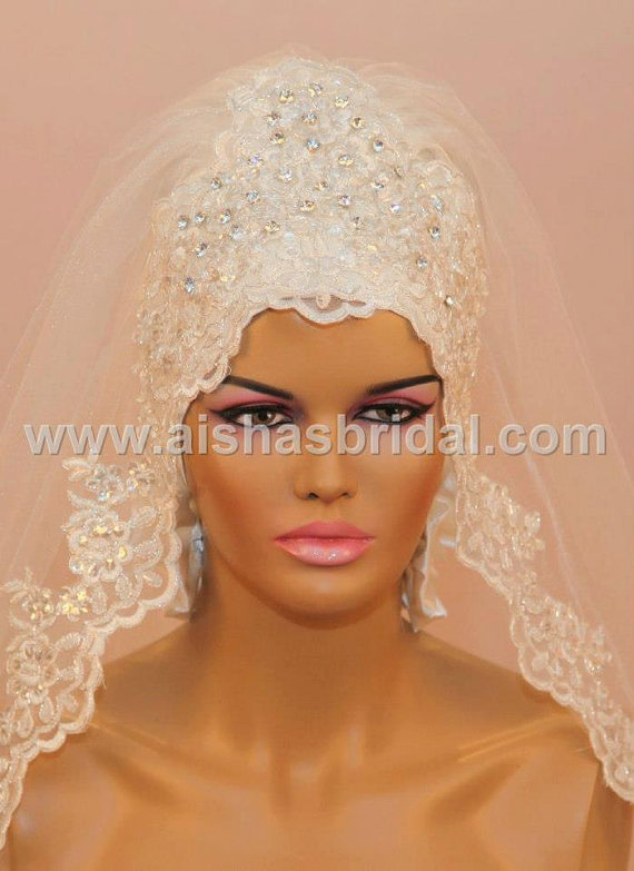 Hochzeit - Ready To Wear Bridal Hijab  Code: HGT-0418  muslim women hijab scarf wrapper kerchief veil wedding