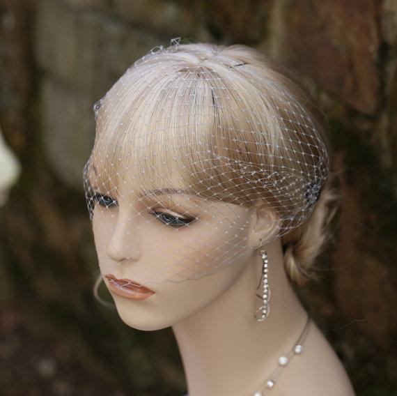 Hochzeit - Grey Bandeau Style Birdcage Veil  Dark Gray Silver Shining Rhinestones Bridesmaids Blusher