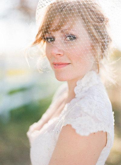 "Hochzeit - Full Birdcage Veil, 9""  Bandeau Veil, Birdcage Veil, Wedding Veil, Bridal Veil, Russian Veil, Bird Cage Veil"