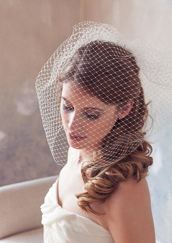 "Wedding - Birdcage Veil, Bird Cage Veil, Wedding Veil, Blusher Veil, Large Full Bridal Veil in Russian Netting - 12"" or 18"" in White, Ivory Cage veil"