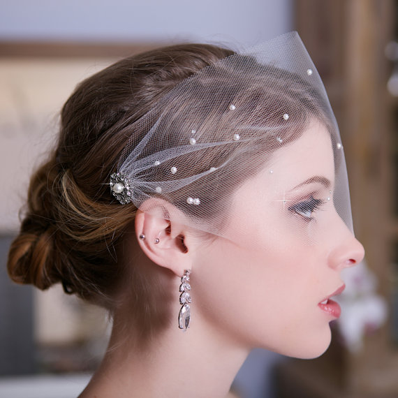 Tulle Bandeau Birdcage Veil Bird Cage Bridal Crystal Pearl Wedding Tered Pearls And Crystals Style 147