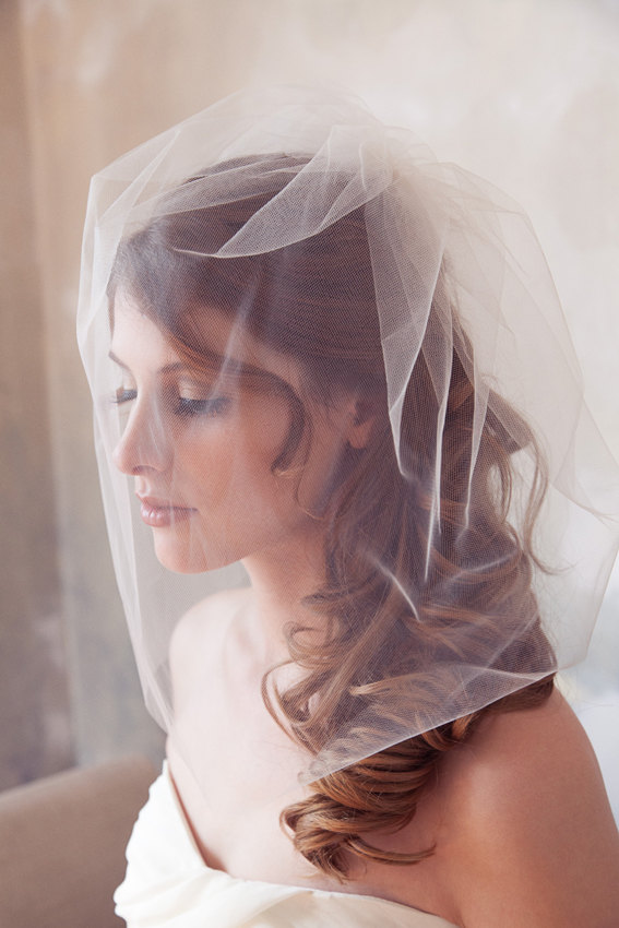 "Mariage - Tulle Veil, Bridal Illusion, Birdcage Veil, Blusher Veil, Bird Cage Wedding Veil, White, Ivory Tulle Bird Cage Veil, 18"" or 14"" long veil"