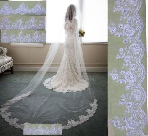 Nozze - Design Your Veil Cathedral 118 inches long 60 inches wide available in white or Ivory /Choose from 4 different laces