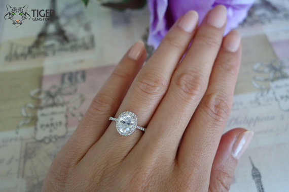 1 5 Carat Oval Halo Engagement Ring D Color Man Made
