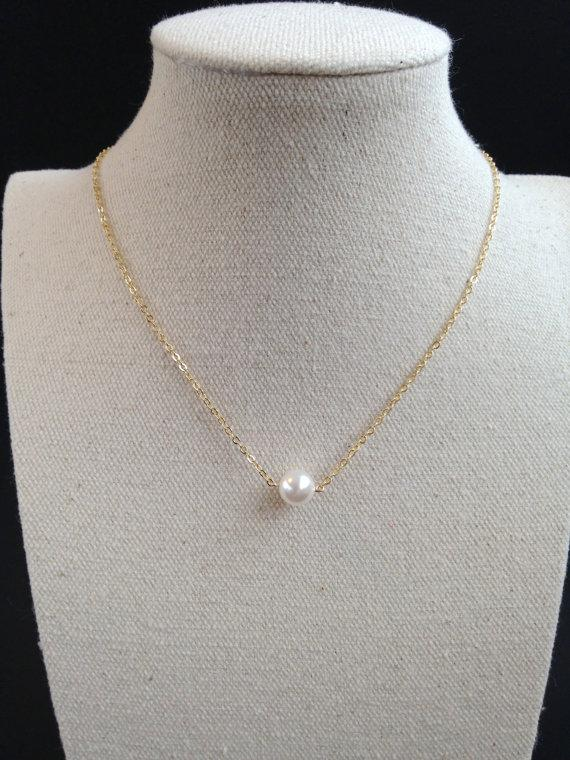 6a116b3ac Single pearl necklace, Floating pearl necklace, Bridal pearl necklace,  Bridesmaid gift,Simple everyday Jewelry,Silver Necklace.