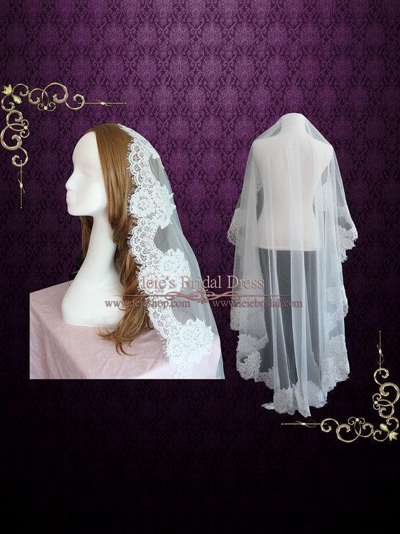 Hochzeit - Waltz Length Mantilla Lace Wedding Veil with Eyelash edge
