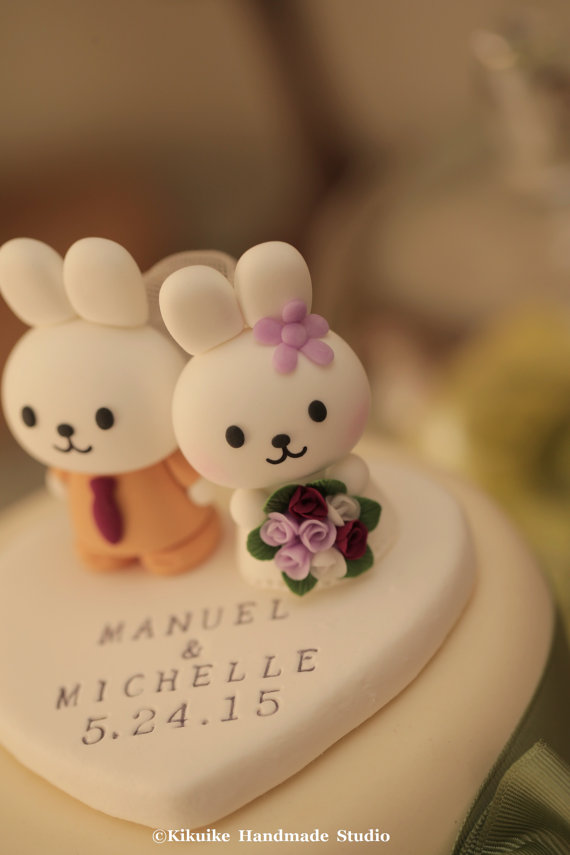 Mariage - rabbit and bunny Wedding Cake Topper---k917